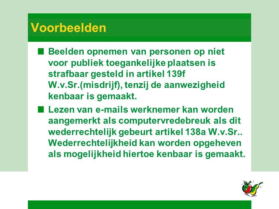 Voorbeelden Beelden opnemen van personen op niet voor publiek toegankelijke plaatsen is strafbaar gesteld in artikel 139f W.v.Sr.(misdrijf), tenzij de