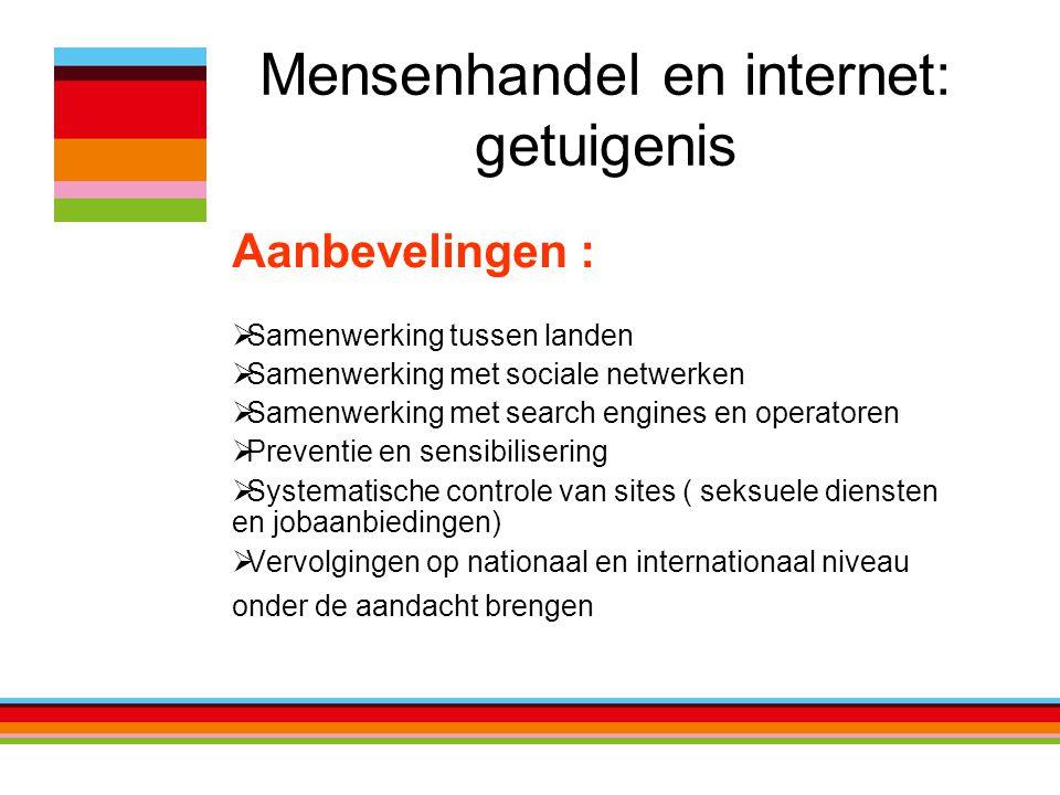 Mensenhandel en internet: getuigenis Aanbevelingen :  Samenwerking tussen landen  Samenwerking met sociale netwerken  Samenwerking met search engin