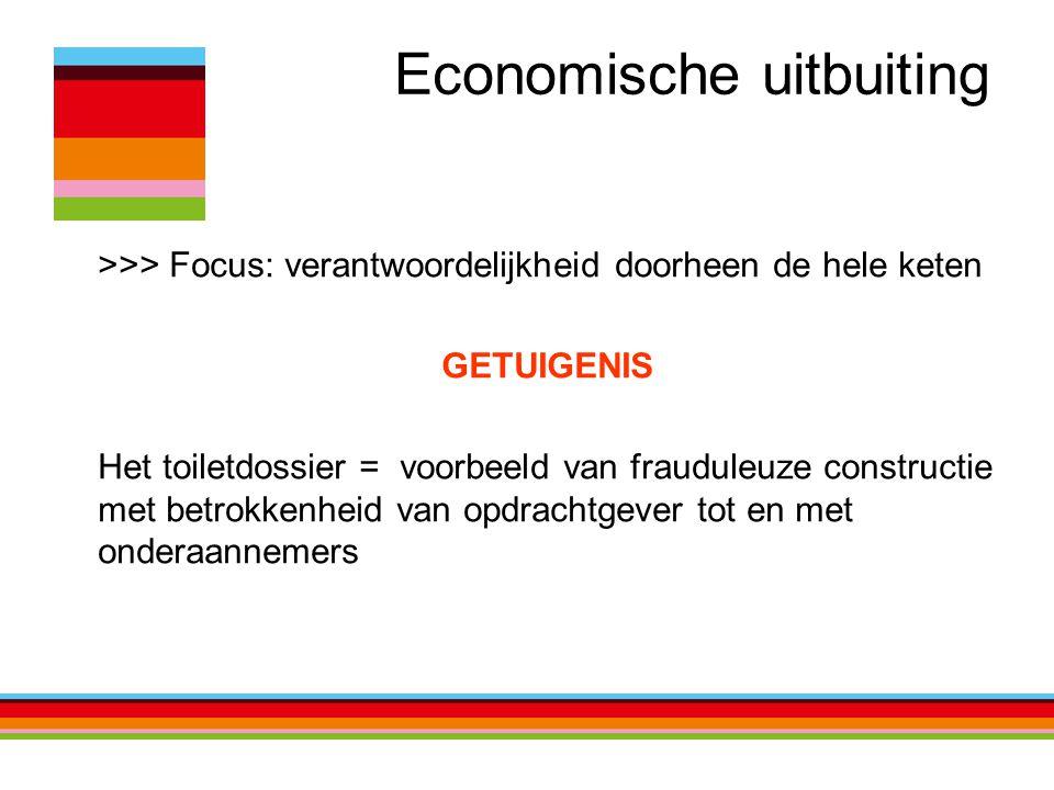 Economische uitbuiting >>> Focus: verantwoordelijkheid doorheen de hele keten GETUIGENIS Het toiletdossier = voorbeeld van frauduleuze constructie met betrokkenheid van opdrachtgever tot en met onderaannemers