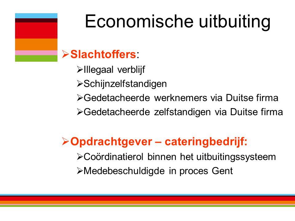 Economische uitbuiting  Slachtoffers:  Illegaal verblijf  Schijnzelfstandigen  Gedetacheerde werknemers via Duitse firma  Gedetacheerde zelfstand