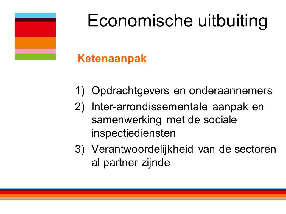 Economische uitbuiting Ketenaanpak 1)Opdrachtgevers en onderaannemers 2)Inter-arrondissementale aanpak en samenwerking met de sociale inspectiediensten 3)Verantwoordelijkheid van de sectoren al partner zijnde