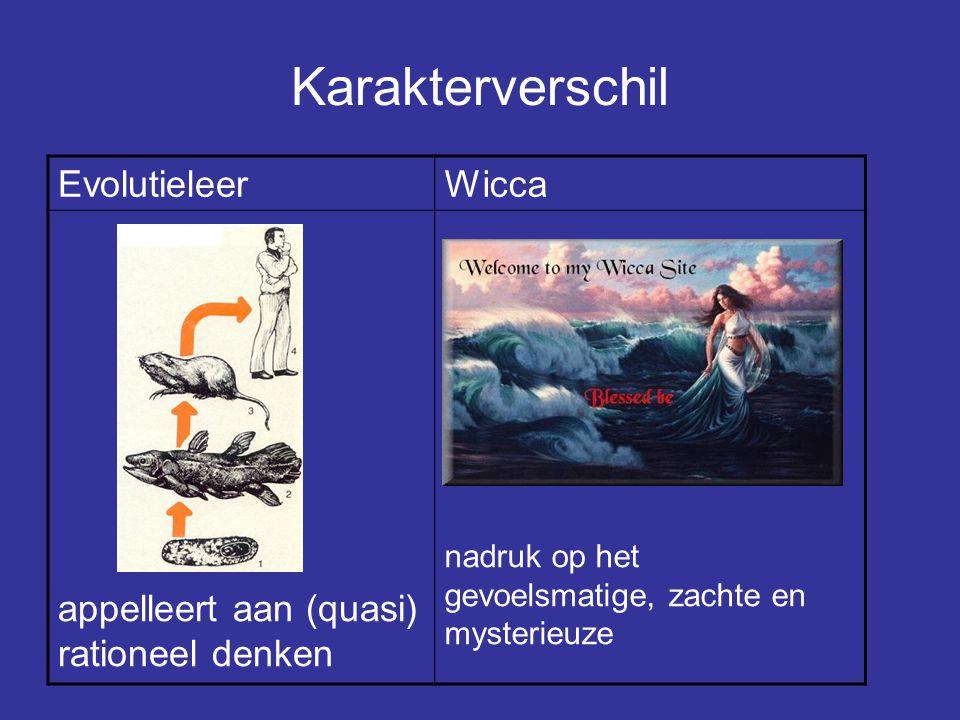 Karakterverschil EvolutieleerWicca appelleert aan (quasi) rationeel denken nadruk op het gevoelsmatige, zachte en mysterieuze