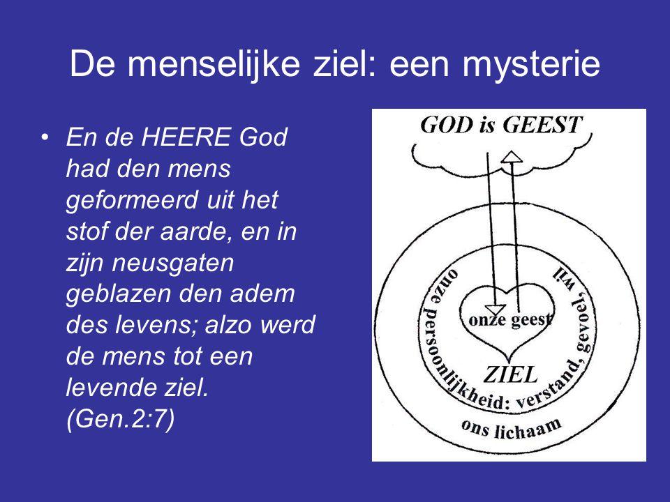 De menselijke ziel: een mysterie En de HEERE God had den mens geformeerd uit het stof der aarde, en in zijn neusgaten geblazen den adem des levens; alzo werd de mens tot een levende ziel.