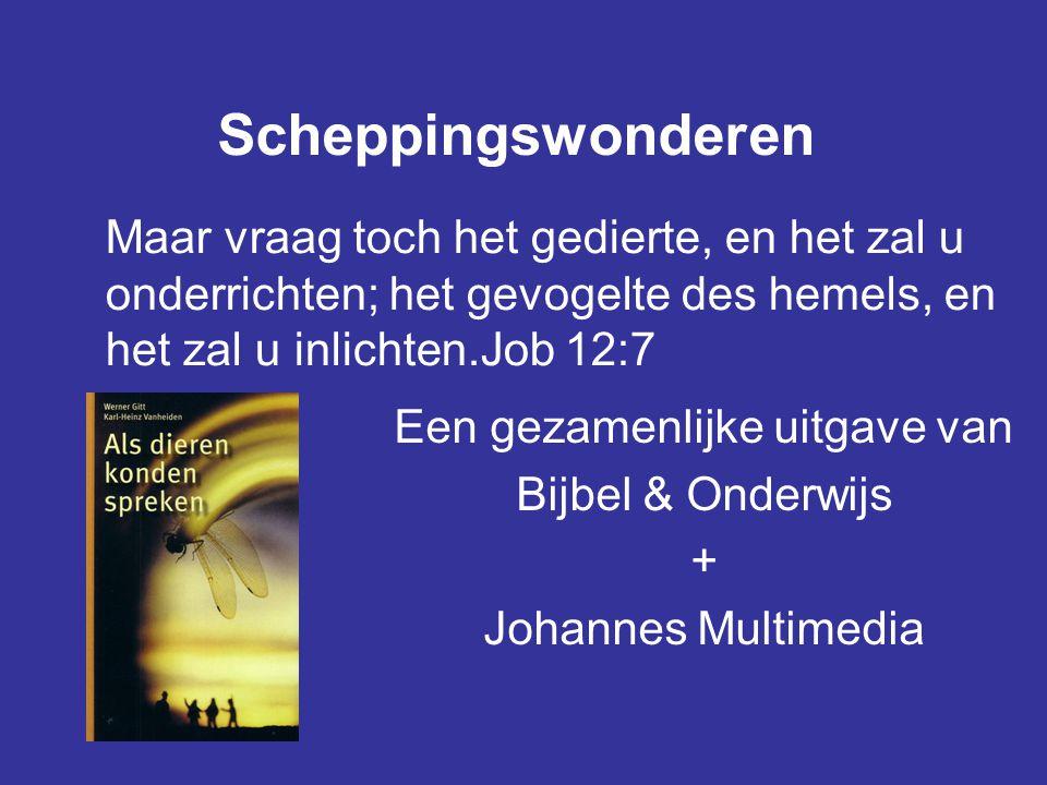 Scheppingswonderen Een gezamenlijke uitgave van Bijbel & Onderwijs + Johannes Multimedia Maar vraag toch het gedierte, en het zal u onderrichten; het gevogelte des hemels, en het zal u inlichten.Job 12:7