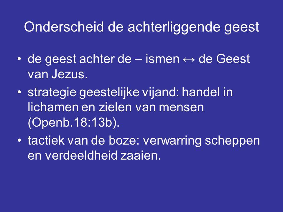 Onderscheid de achterliggende geest de geest achter de – ismen ↔ de Geest van Jezus.