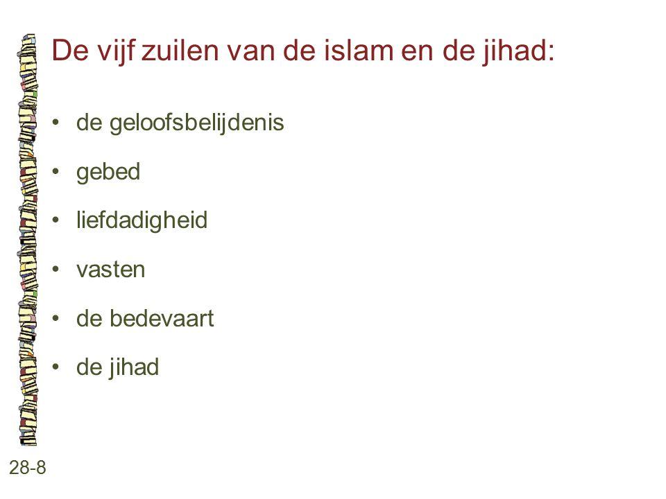 De vijf zuilen van de islam en de jihad: 28-8 de geloofsbelijdenis gebed liefdadigheid vasten de bedevaart de jihad