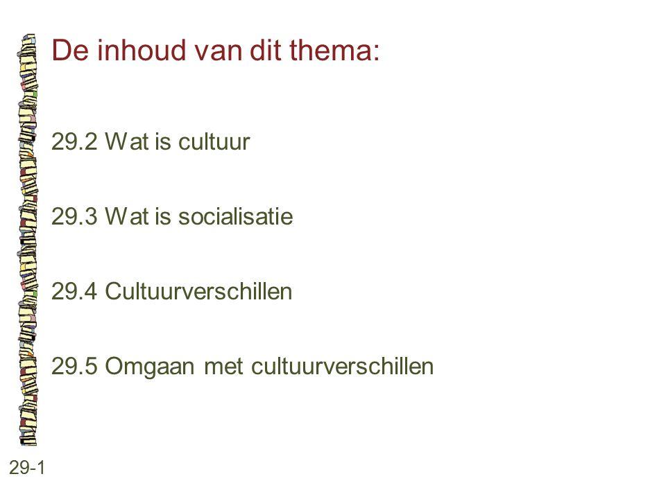 De inhoud van dit thema: 29-1 29.2 Wat is cultuur 29.3 Wat is socialisatie 29.4 Cultuurverschillen 29.5 Omgaan met cultuurverschillen