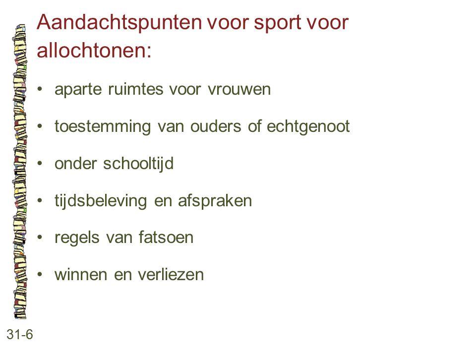 Aandachtspunten voor sport voor allochtonen: 31-6 aparte ruimtes voor vrouwen toestemming van ouders of echtgenoot onder schooltijd tijdsbeleving en a