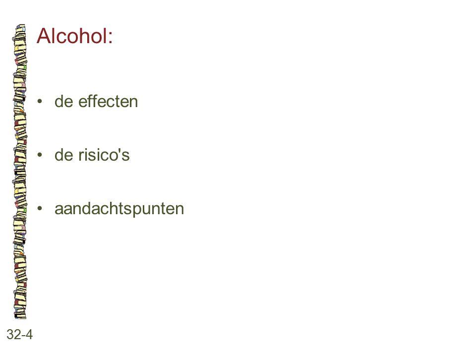 Alcohol: 32-4 de effecten de risico's aandachtspunten