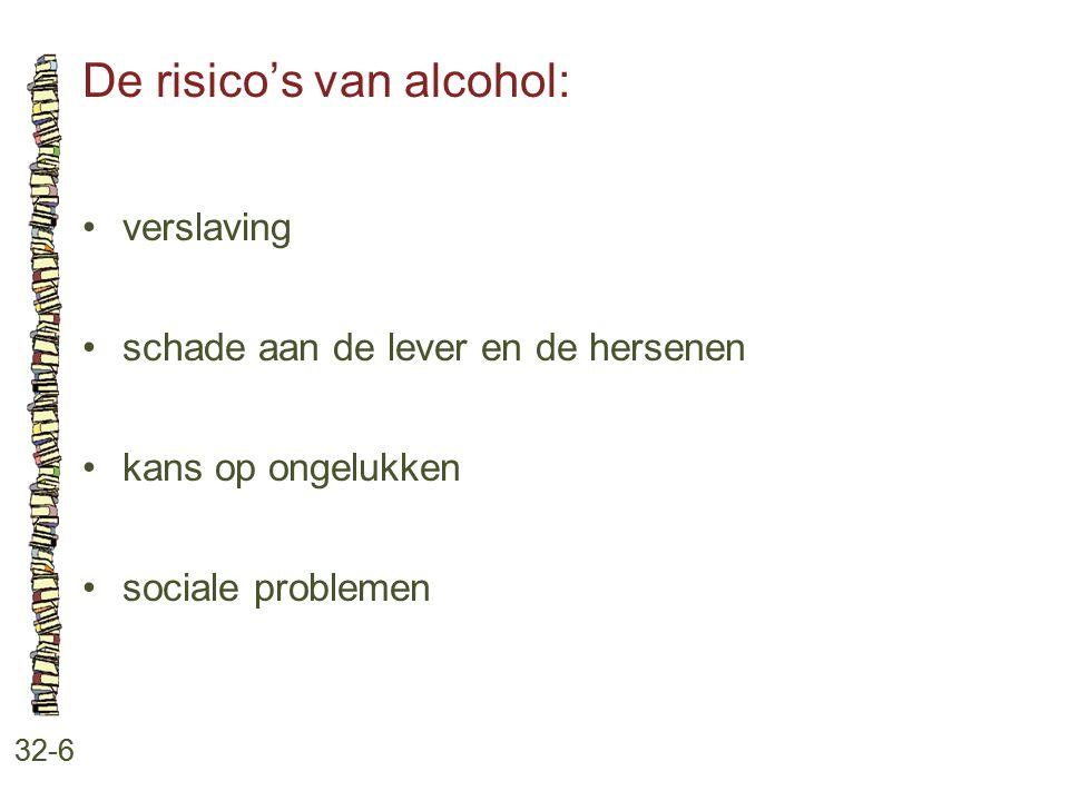 De risico's van alcohol: 32-6 verslaving schade aan de lever en de hersenen kans op ongelukken sociale problemen