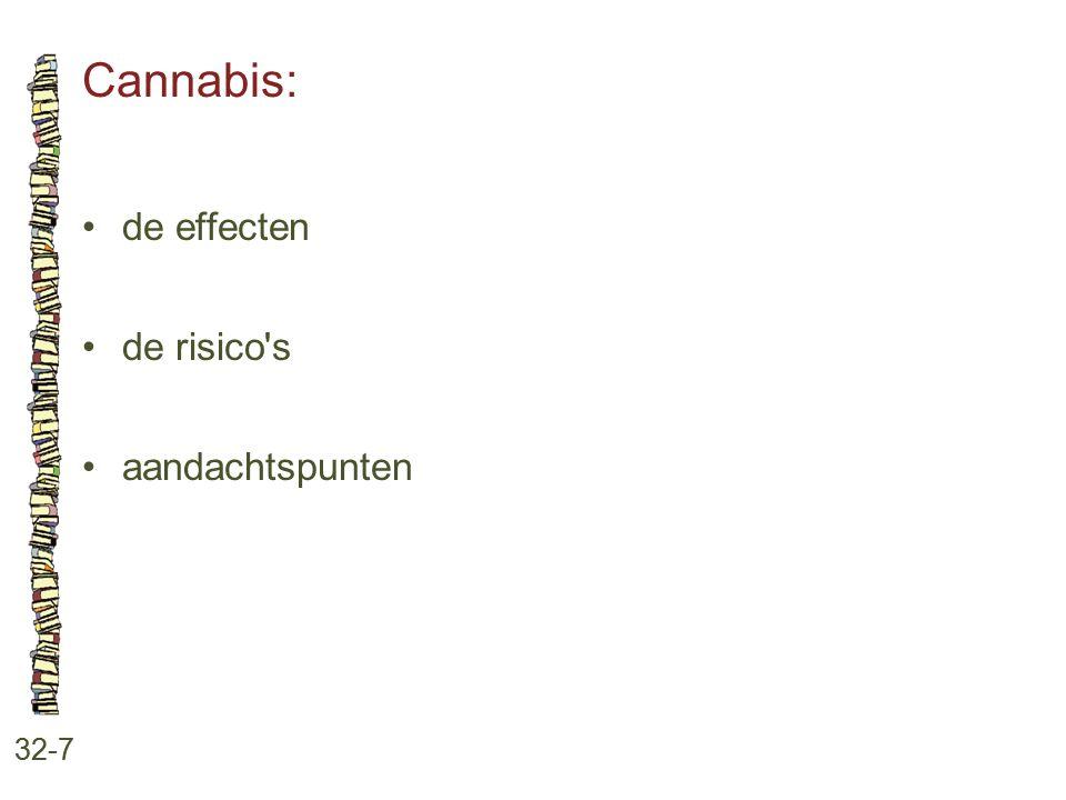 Cannabis: 32-7 de effecten de risico's aandachtspunten