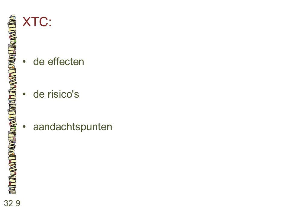 XTC: 32-9 de effecten de risico's aandachtspunten