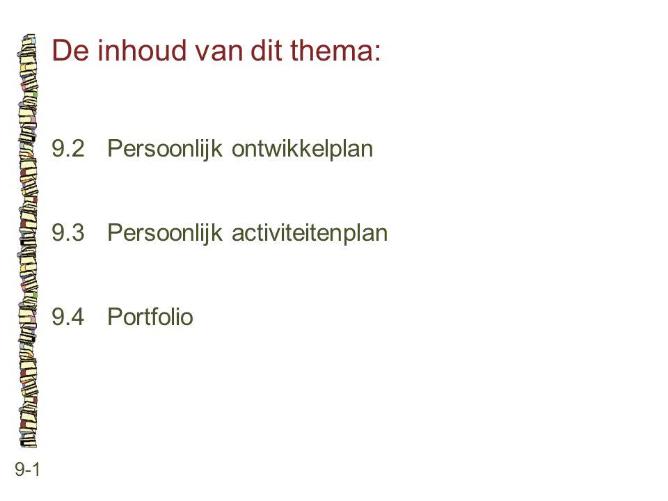 De inhoud van dit thema: 9-1 9.2 Persoonlijk ontwikkelplan 9.3 Persoonlijk activiteitenplan 9.4 Portfolio