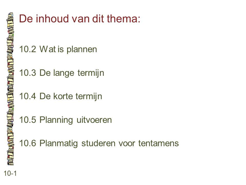 De inhoud van dit thema: 10-1 10.2 Wat is plannen 10.3 De lange termijn 10.4 De korte termijn 10.5 Planning uitvoeren 10.6 Planmatig studeren voor ten