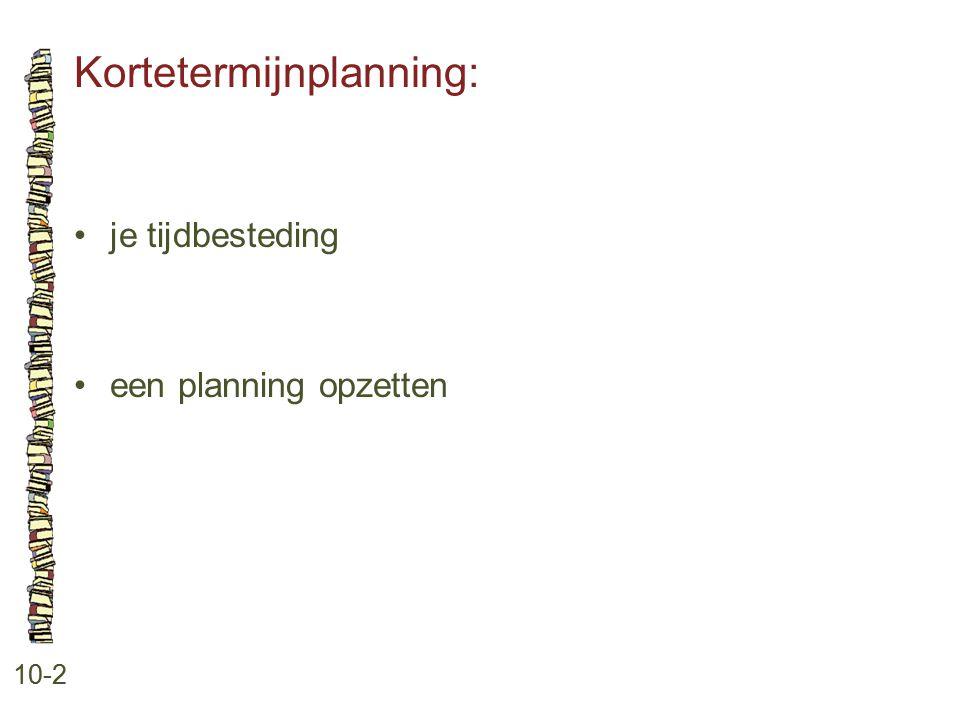 Kortetermijnplanning: 10-2 je tijdbesteding een planning opzetten