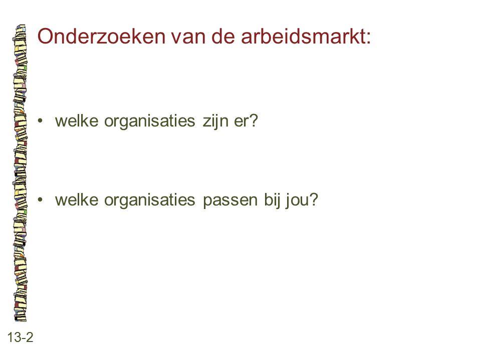 Onderzoeken van de arbeidsmarkt: 13-2 welke organisaties zijn er? welke organisaties passen bij jou?