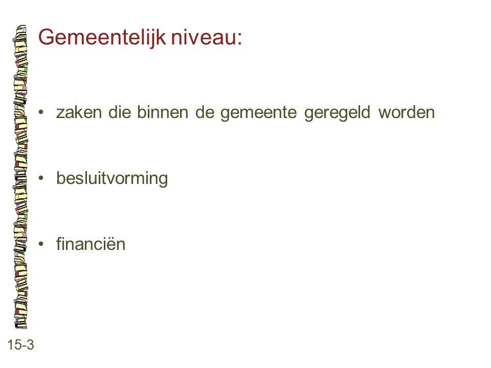 Gemeentelijk niveau: 15-3 zaken die binnen de gemeente geregeld worden besluitvorming financiën
