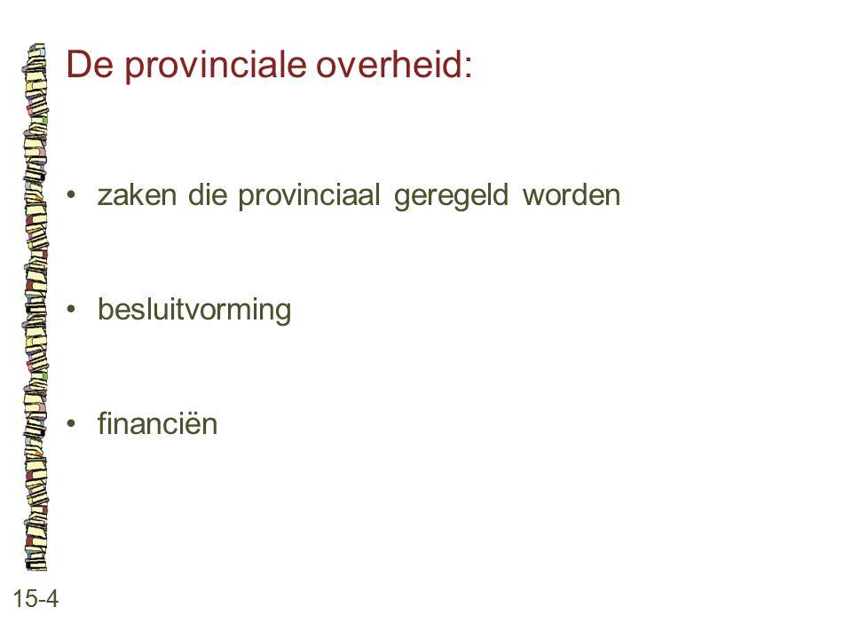 De provinciale overheid: 15-4 zaken die provinciaal geregeld worden besluitvorming financiën