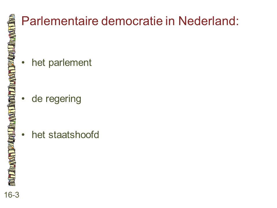 Parlementaire democratie in Nederland: 16-3 het parlement de regering het staatshoofd
