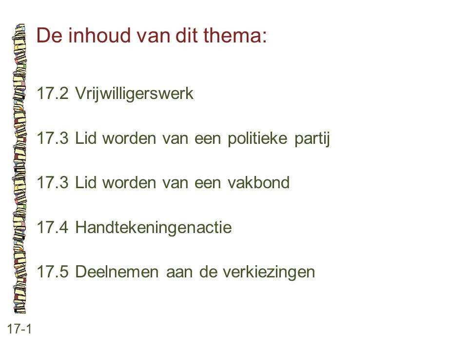 De inhoud van dit thema: 17-1 17.2 Vrijwilligerswerk 17.3 Lid worden van een politieke partij 17.3 Lid worden van een vakbond 17.4 Handtekeningenactie