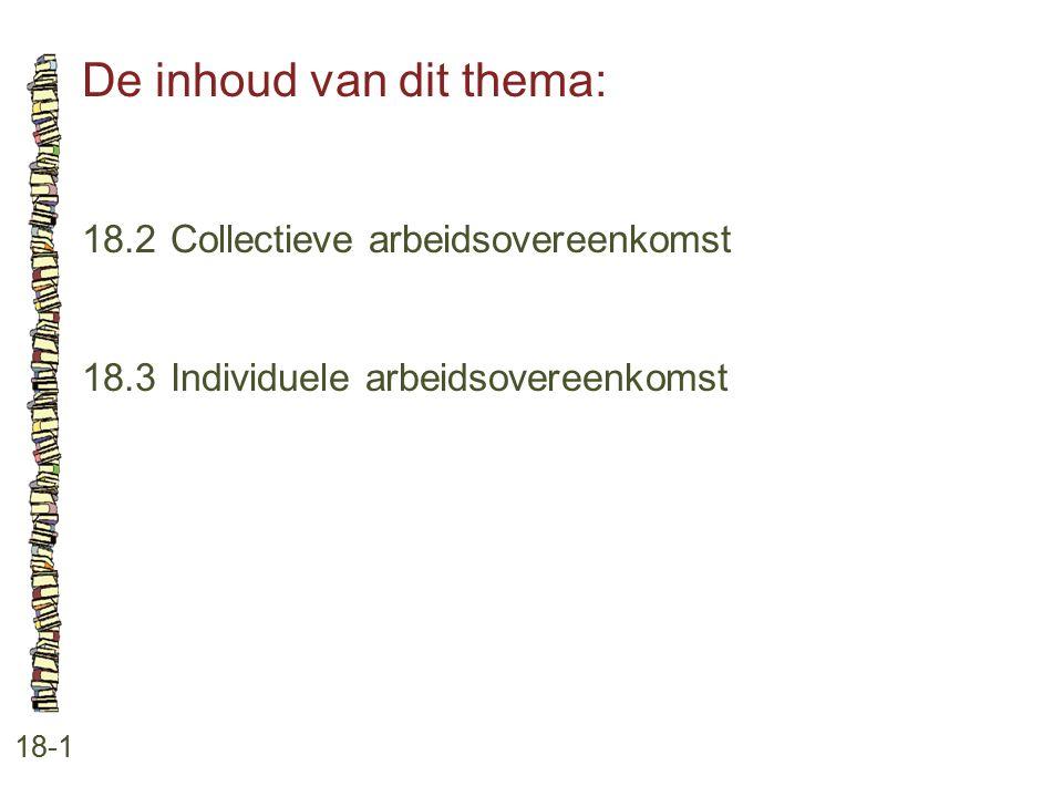 De inhoud van dit thema: 18-1 18.2 Collectieve arbeidsovereenkomst 18.3 Individuele arbeidsovereenkomst
