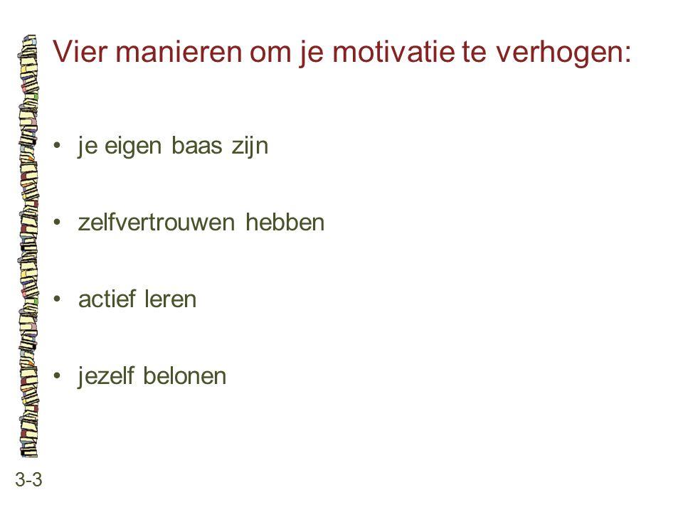 Vier manieren om je motivatie te verhogen: 3-3 je eigen baas zijn zelfvertrouwen hebben actief leren jezelf belonen