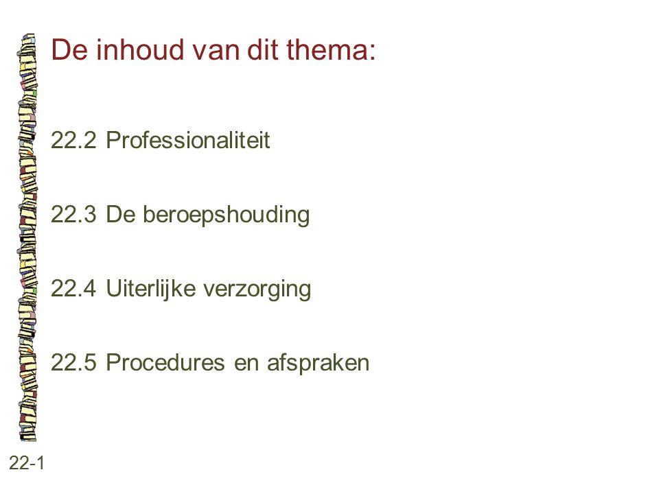 De inhoud van dit thema: 22-1 22.2Professionaliteit 22.3 De beroepshouding 22.4 Uiterlijke verzorging 22.5 Procedures en afspraken