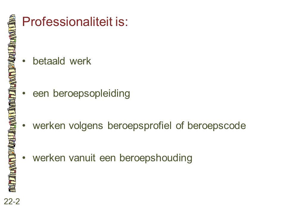 Professionaliteit is: 22-2 betaald werk een beroepsopleiding werken volgens beroepsprofiel of beroepscode werken vanuit een beroepshouding