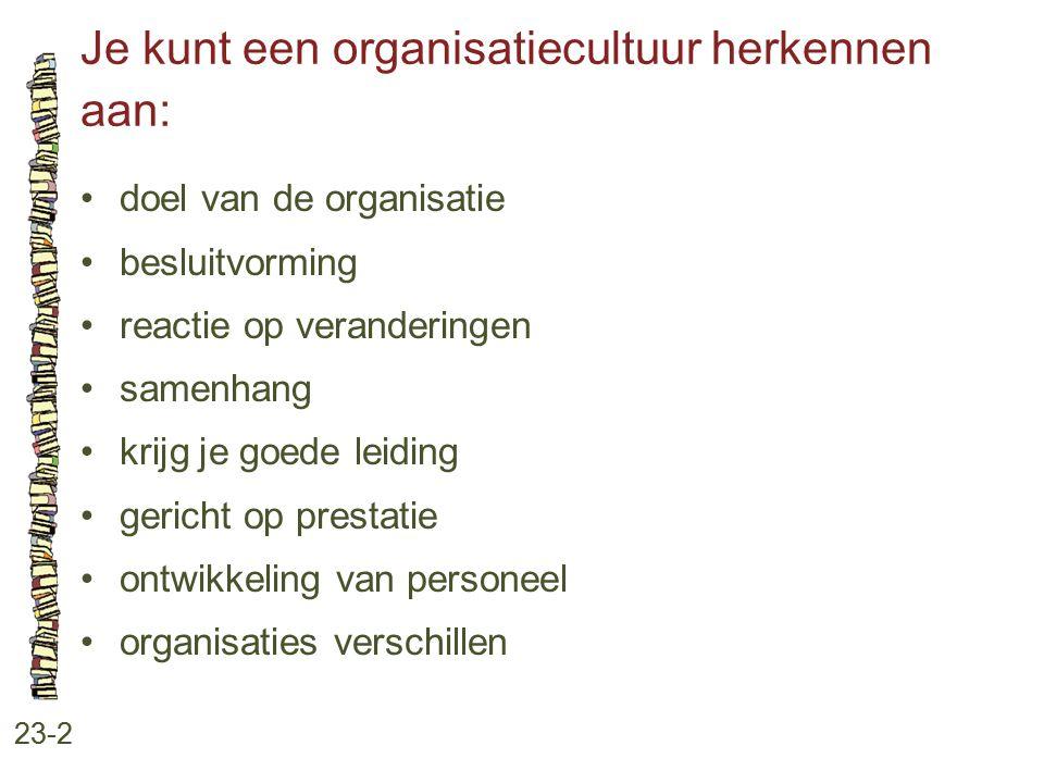 Je kunt een organisatiecultuur herkennen aan: 23-2 doel van de organisatie besluitvorming reactie op veranderingen samenhang krijg je goede leiding ge