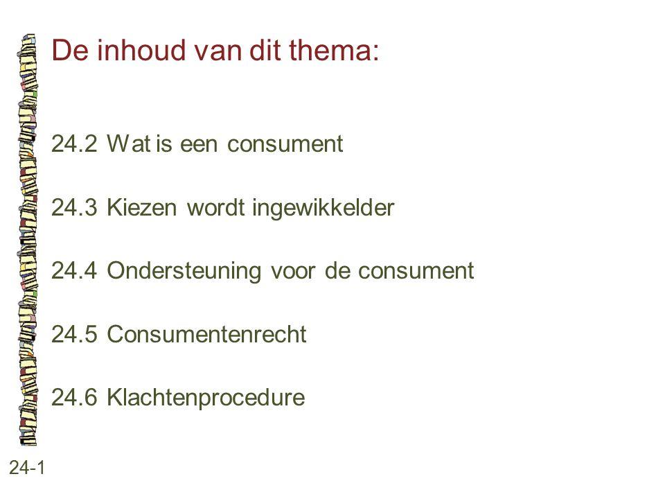 De inhoud van dit thema: 24-1 24.2 Wat is een consument 24.3 Kiezen wordt ingewikkelder 24.4 Ondersteuning voor de consument 24.5 Consumentenrecht 24.