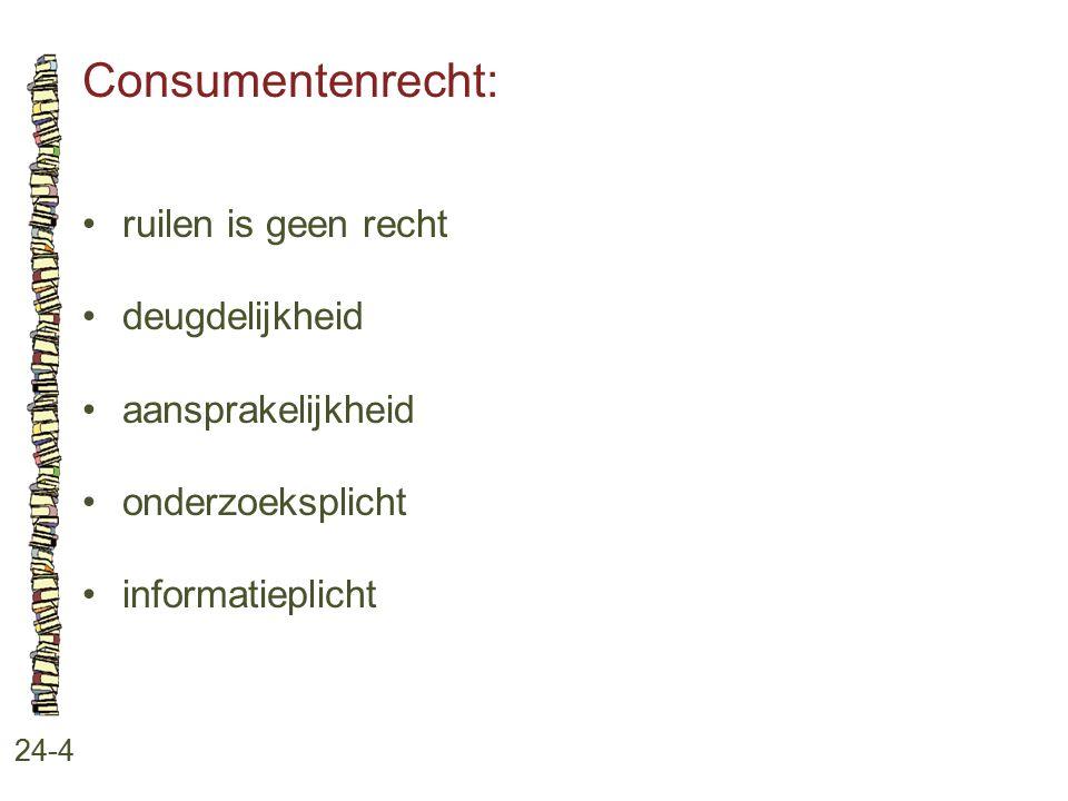 Consumentenrecht: 24-4 ruilen is geen recht deugdelijkheid aansprakelijkheid onderzoeksplicht informatieplicht