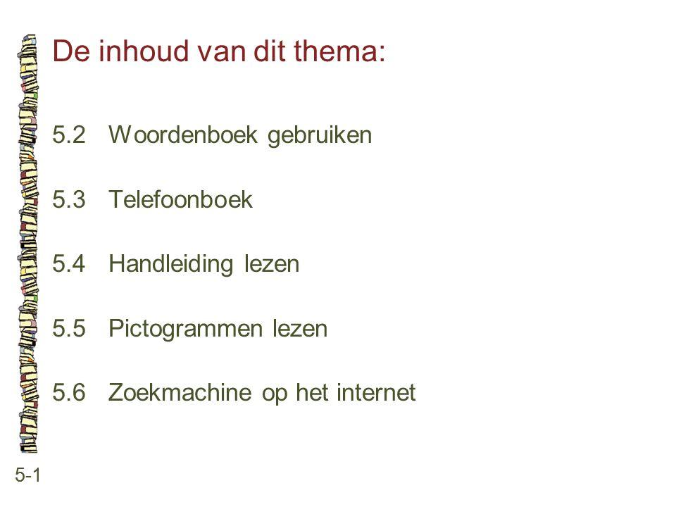 De inhoud van dit thema: 5-1 5.2Woordenboek gebruiken 5.3Telefoonboek 5.4Handleiding lezen 5.5Pictogrammen lezen 5.6Zoekmachine op het internet