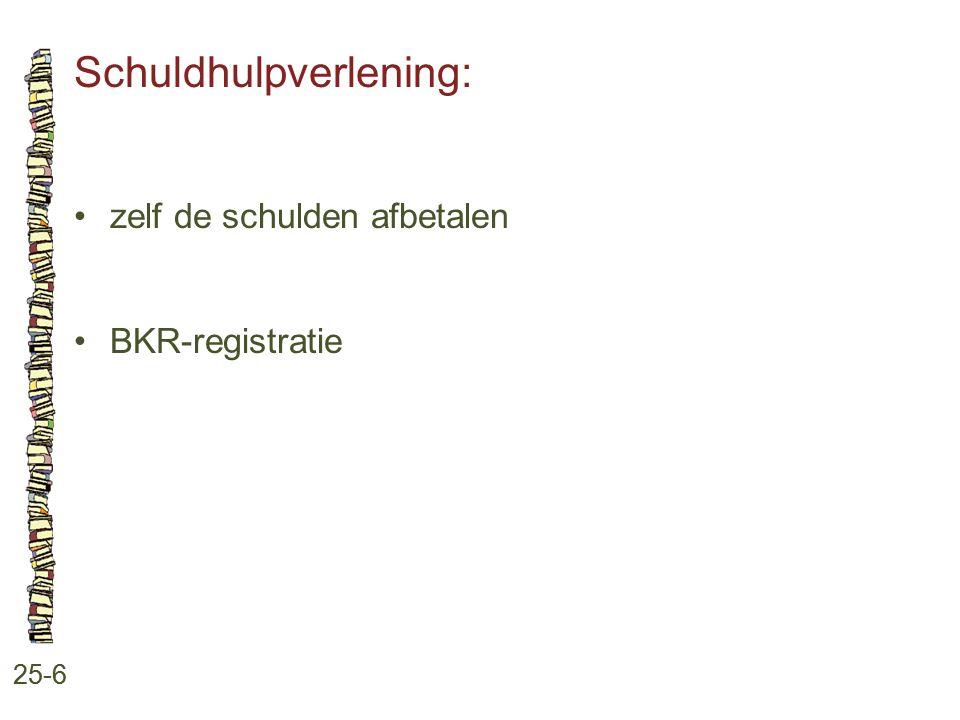 Schuldhulpverlening: 25-6 zelf de schulden afbetalen BKR-registratie