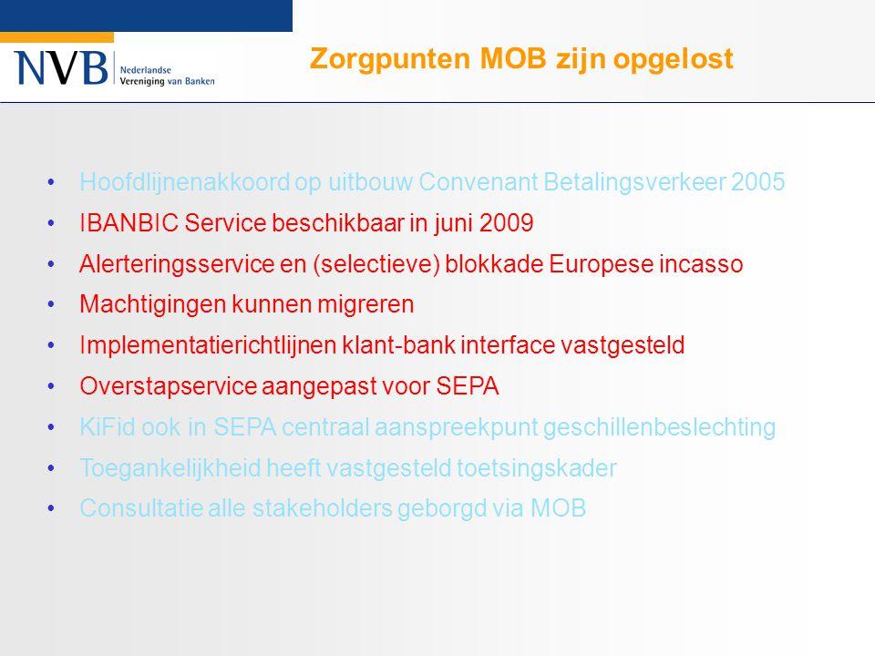 Hoofdlijnenakkoord op uitbouw Convenant Betalingsverkeer 2005 IBANBIC Service beschikbaar in juni 2009 Alerteringsservice en (selectieve) blokkade Europese incasso Machtigingen kunnen migreren Implementatierichtlijnen klant-bank interface vastgesteld Overstapservice aangepast voor SEPA KiFid ook in SEPA centraal aanspreekpunt geschillenbeslechting Toegankelijkheid heeft vastgesteld toetsingskader Consultatie alle stakeholders geborgd via MOB Zorgpunten MOB zijn opgelost