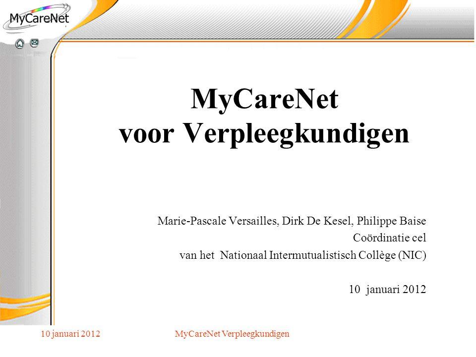 10 januari 2012MyCareNet Verpleegkundigen Verantwoordelijke Toegang Entiteiten = Verantwoordelijke RIZIV of KBO Lokale Beheerder Andere gebruikers Organisatie (KBO nr.) of Groepering (RIZIV nr.