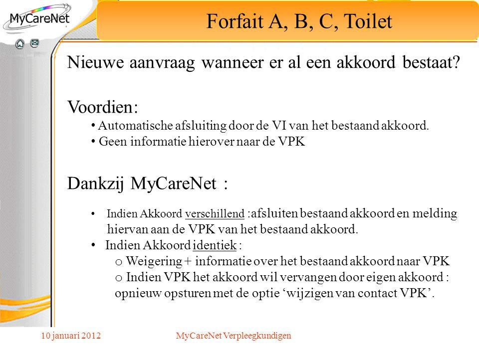 10 januari 2012 Forfait A, B, C, Toilet Nieuwe aanvraag wanneer er al een akkoord bestaat? Voordien: Automatische afsluiting door de VI van het bestaa