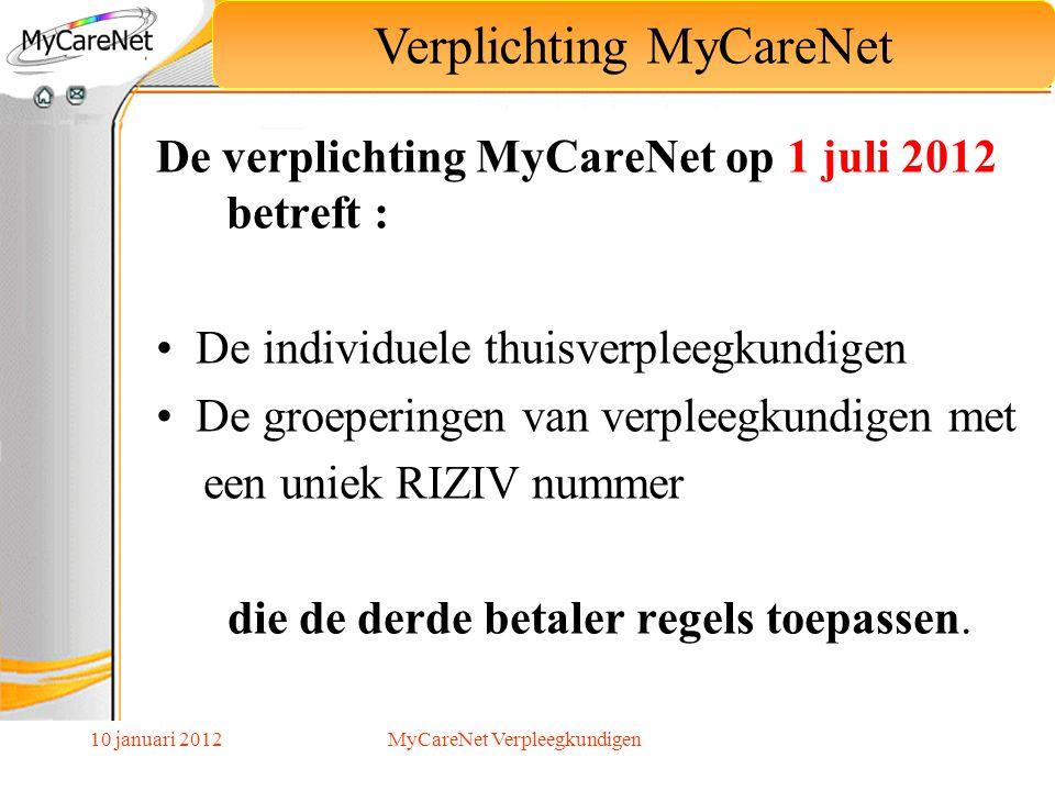 10 januari 2012 De verplichting MyCareNet op 1 juli 2012 betreft : De individuele thuisverpleegkundigen De groeperingen van verpleegkundigen met een u