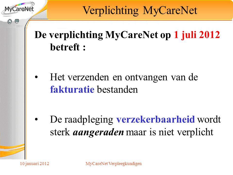 10 januari 2012 De verplichting MyCareNet op 1 juli 2012 betreft : Het verzenden en ontvangen van de fakturatie bestanden De raadpleging verzekerbaarh