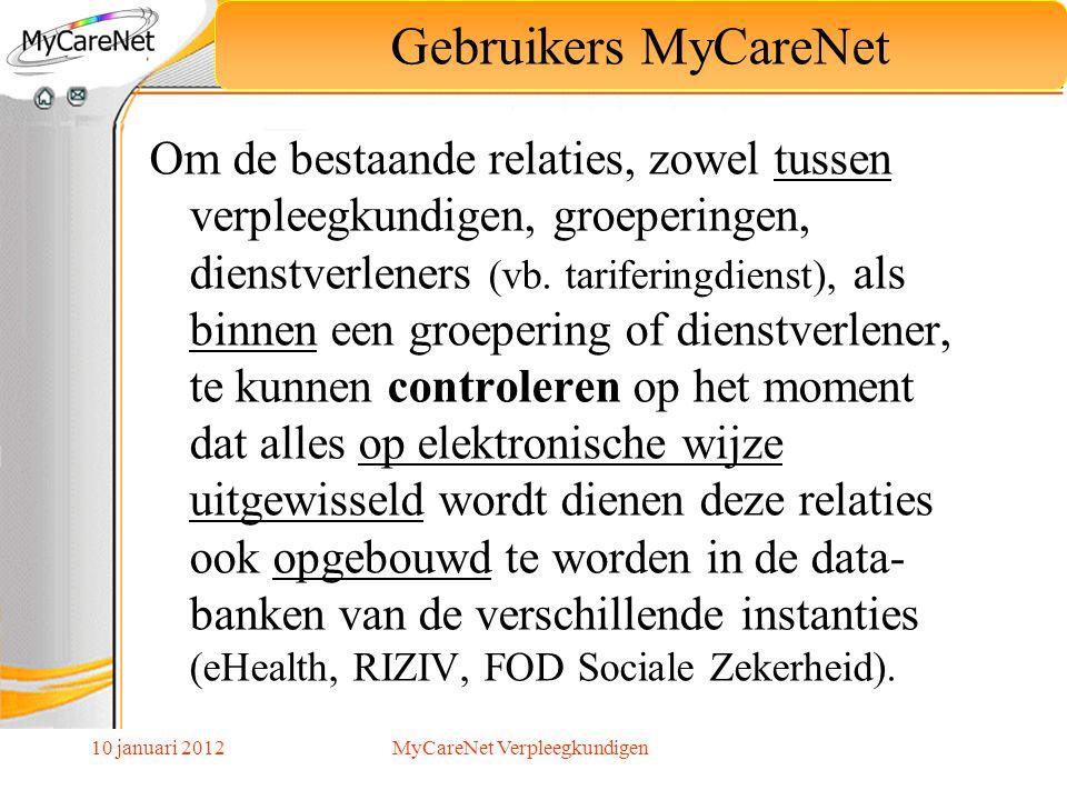 10 januari 2012 Om de bestaande relaties, zowel tussen verpleegkundigen, groeperingen, dienstverleners (vb. tariferingdienst), als binnen een groeperi