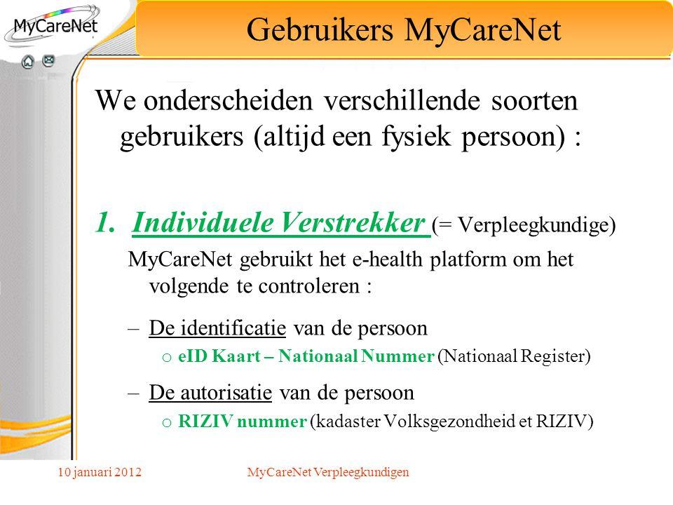 10 januari 2012 We onderscheiden verschillende soorten gebruikers (altijd een fysiek persoon) : 1.Individuele Verstrekker (= Verpleegkundige) MyCareNe