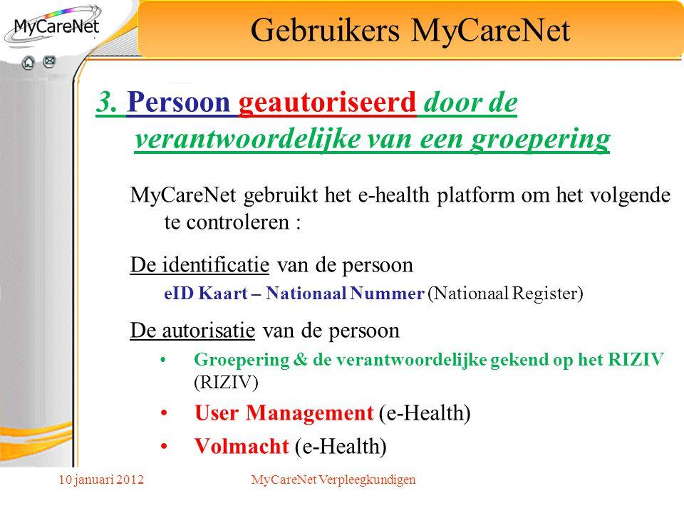 10 januari 2012 3. Persoon geautoriseerd door de verantwoordelijke van een groepering MyCareNet gebruikt het e-health platform om het volgende te cont