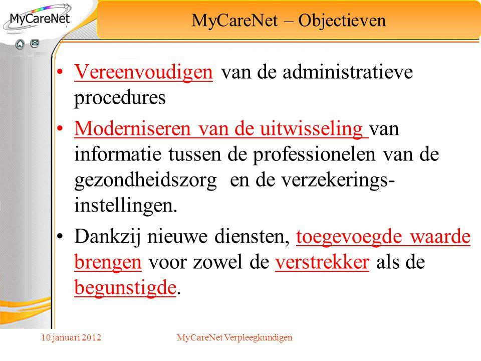 10 januari 2012 Beschikbaar op de MyCareNet website: http://www.mycarenet.be/library/documents/FilmNL/start.htm Bekijk het gedeelte INLEIDING via het menu linksonder Concept MyCareNet MyCareNet Verpleegkundigen
