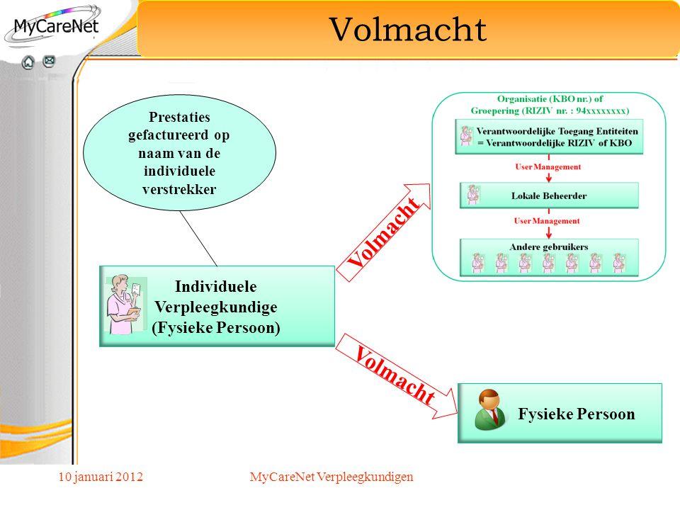 Individuele Verpleegkundige (Fysieke Persoon) Volmacht Fysieke Persoon Prestaties gefactureerd op naam van de individuele verstrekker 10 januari 2012M