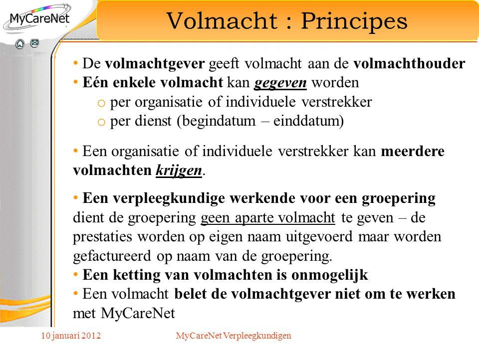 Volmacht : Principes De volmachtgever geeft volmacht aan de volmachthouder Eén enkele volmacht kan gegeven worden o per organisatie of individuele ver