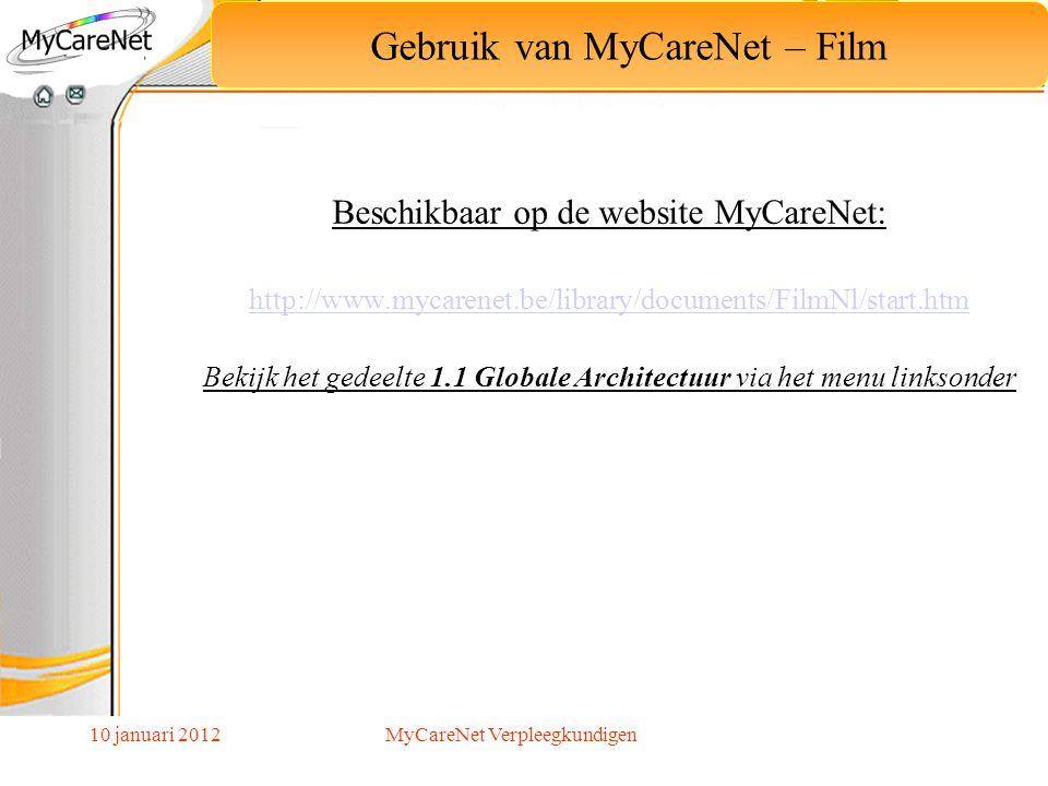 10 januari 2012 Beschikbaar op de website MyCareNet: http://www.mycarenet.be/library/documents/FilmNl/start.htm Bekijk het gedeelte 1.1 Globale Archit