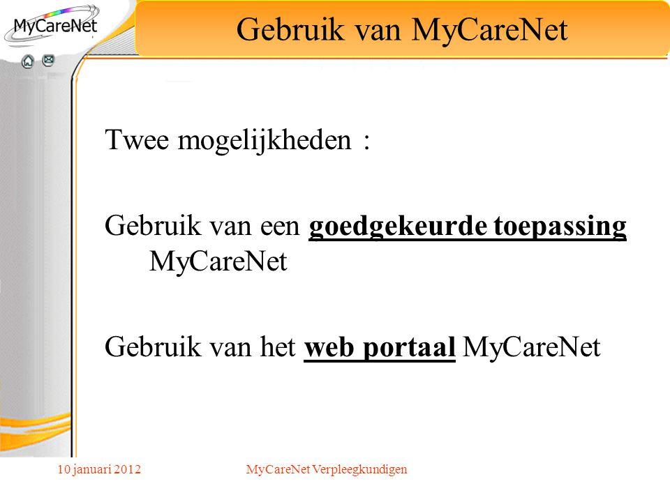 10 januari 2012 Twee mogelijkheden : Gebruik van een goedgekeurde toepassing MyCareNet Gebruik van het web portaal MyCareNet Gebruik van MyCareNet MyC