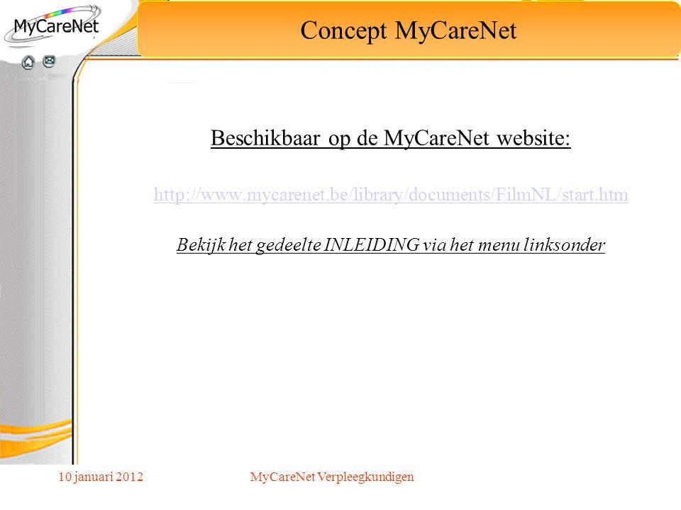 10 januari 2012 Concept MyCareNet Aangeboden Diensten Verplichting MyCareNet Gebruikers MyCareNet Gebruik van MyCareNet In praktijk Dagorde MyCareNet Verpleegkundigen