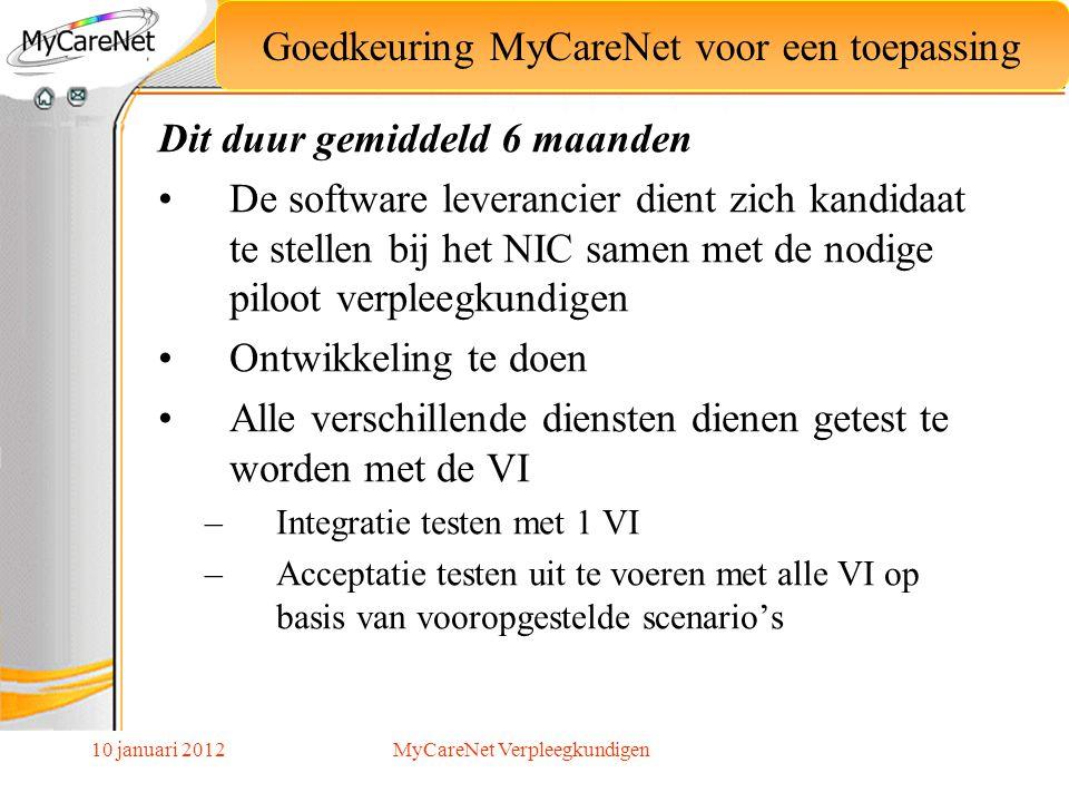 10 januari 2012 Dit duur gemiddeld 6 maanden De software leverancier dient zich kandidaat te stellen bij het NIC samen met de nodige piloot verpleegku