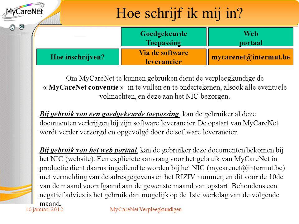 10 januari 2012 Hoe schrijf ik mij in? Goedgekeurde Toepassing Web portaal Om MyCareNet te kunnen gebruiken dient de verpleegkundige de « MyCareNet co