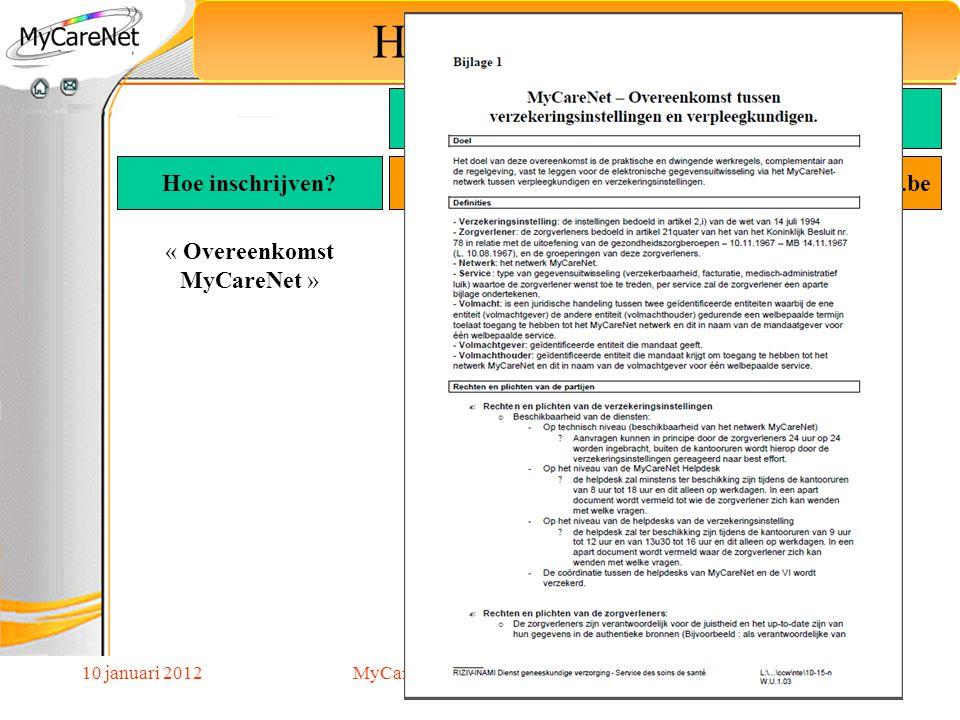 10 januari 2012 Hoe schrijf ik mij in? « Overeenkomst MyCareNet » Hoe inschrijven? MyCareNet Verpleegkundigen Goedgekeurde Toepassing Web portaal Via